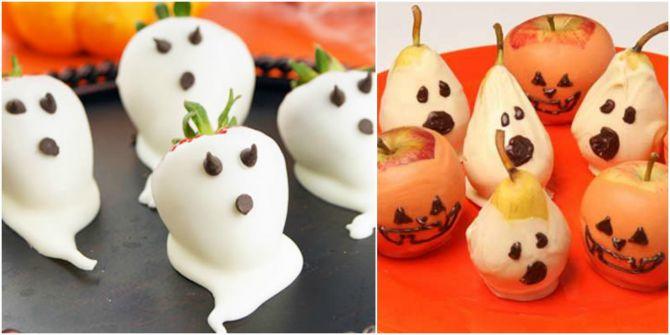 Frutas cobertas com chocolate branco formam fantasmas