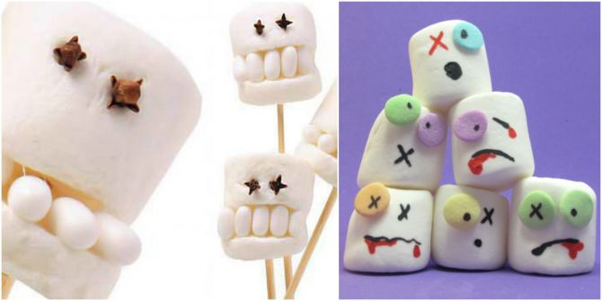 Marshmallows decorados como zumbis