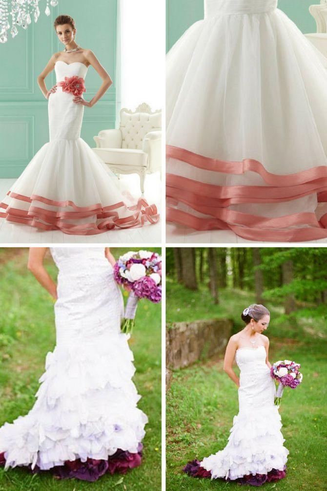 Vestido de noiva com fita colorida na barra