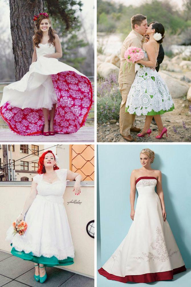 Vestido de noiva com forro colorido