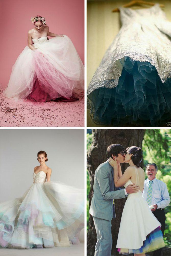 Vestido de noiva com tule colorido