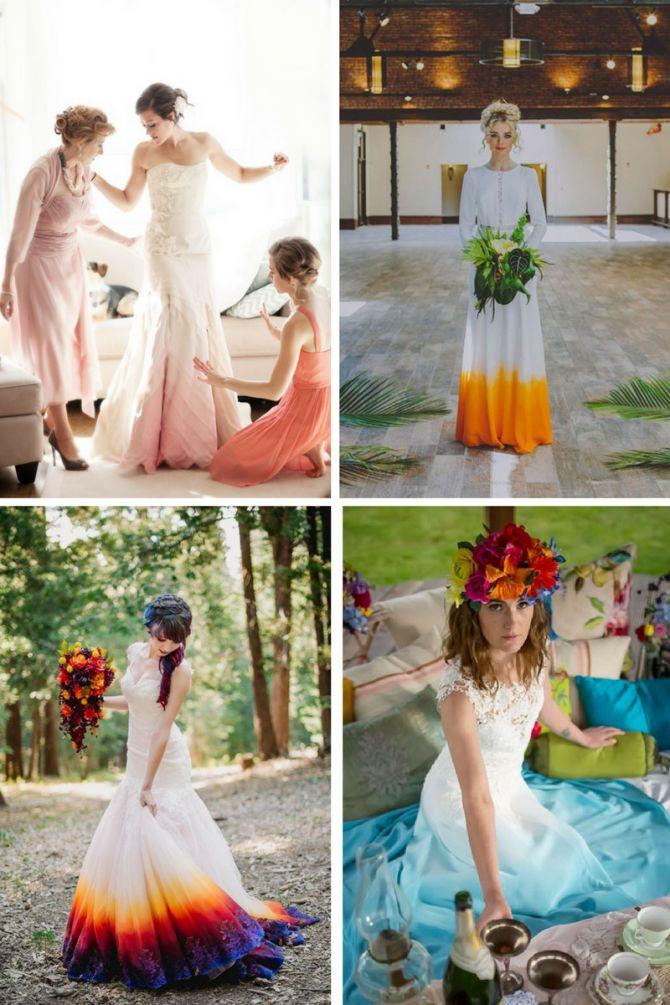 Vestido de noiva com a barra colorida pelo método tie dye