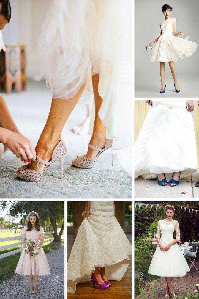 Sapato de noiva com vestido curto