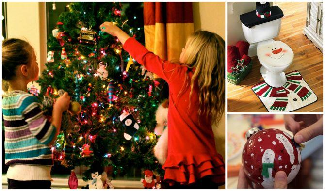 Crianças ajudam decorar a festa de Natal