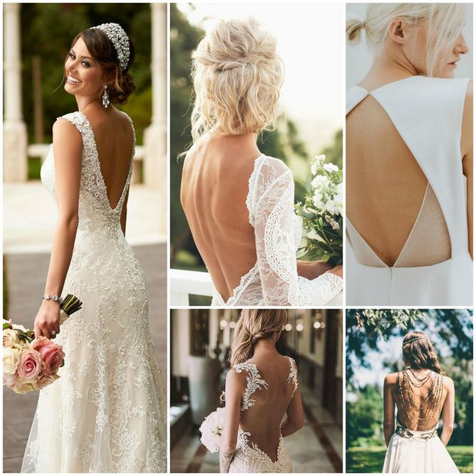 Modelos de vestido de noiva com decote nas costas