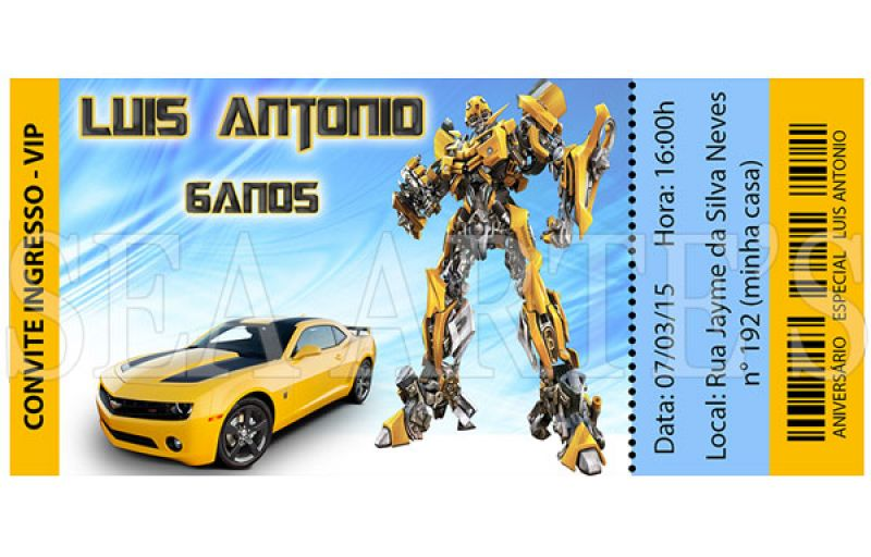 Convite Ingresso Transformers  Car Interior Design